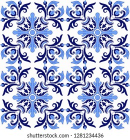 Original traditional Portuguese Pattern vector. Abstract wallpaper.Fabric illustration. Portuguese tiles pattern. simple decoration art, ceramic tile pattern seamless vector.