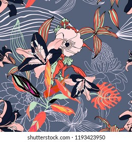 original trendy seamless artistic flower pattern, beautiful tropical floral exotic background, vector illustration