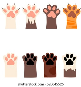 original trendy vector set with cats and dogs paw print with claws