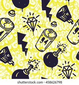 Original urban youth subculture seamless patterns, repeating image for using pattern on any items, T-shirts, wallpaper, curtains. Themes of graffiti, street art. Yellow bombing throw up background