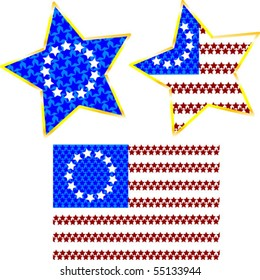 An original US flag with made of stars and two star icons with the flag design
