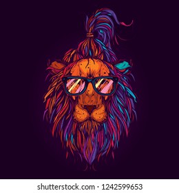 Original vector hipster illustration. Lion with glasses, neon retro style. Design for t-shirt or sticker