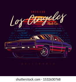 Original vector illustration of American muscle car in retro neon style against sunset and palm trees