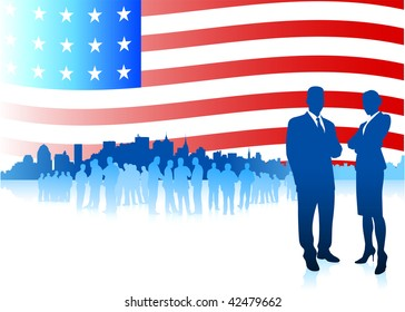 Original Vector Illustration: Business team on Patriotic American Flag background File is AI8 compatible