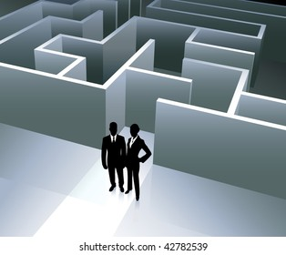 Original Vector Illustration: Business team on background with maze AI8 compatible