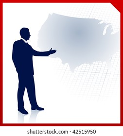 Original Vector Illustration: businessman presenting United States of America map  File is AI8 compatible
