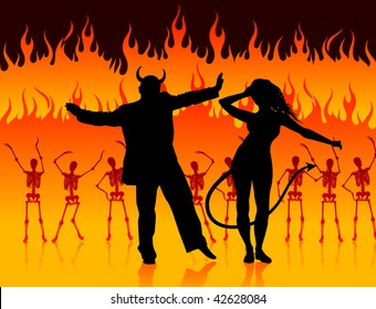 Original Vector Illustration: devils dancing in hell background with skeletons and fire AI8 compatible