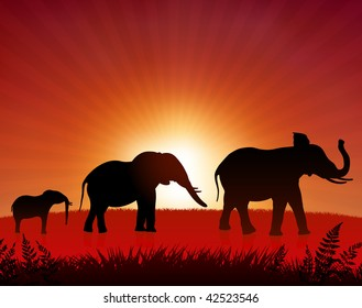 Original Vector Illustration: elephants in the wild AI8 compatible