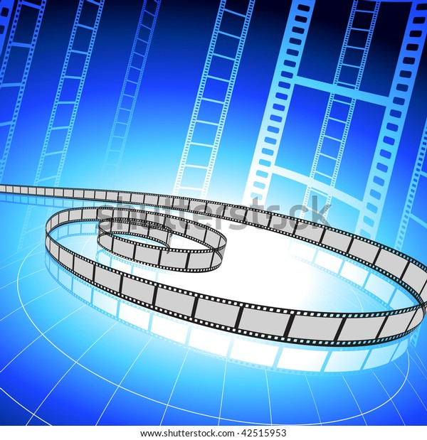 Original Vector Illustration: Film strip on blue background File is AI8 compatible