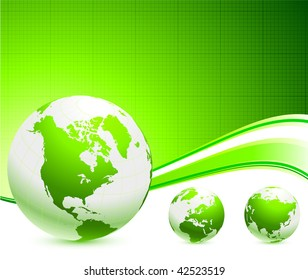 Original Vector Illustration: Green Globes on abstract background AI8 compatible