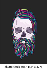 Original vector illustration, man with fashionable hairstyle. Hipster. Print on a t-shirt or sticker. Skeleton and skull.