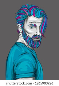 Original vector illustration, man with fashionable hairstyle. Hipster. Print on a t-shirt or sticker. Bearded man.