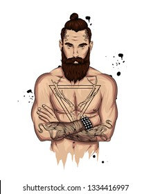 Original vector illustration, man with fashionable hairstyle and tattoo. Hipster. Print on a t-shirt or sticker. Bearded man.