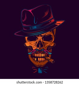 4b3a0b0bba0e4 Original vector illustration in neon style. Skull gangster in hat