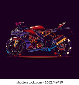 Original vector illustration in neon style. The fastest motorcycle. Superbike.