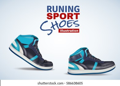 Original vector illustration for retail trade with running leather sport shoes in light and dark shades of blue