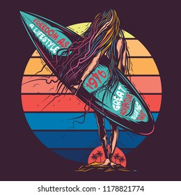 Original vector illustration, in retro neon style, girl going to the sea, with surfing in hand.