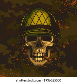 Original vector illustration of a retro skull of a soldier in a helmet with a cigar in his mouth on a camouflage background.