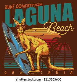 Original vector illustration in retro style. Kangaroo surfing in paws on the beach.