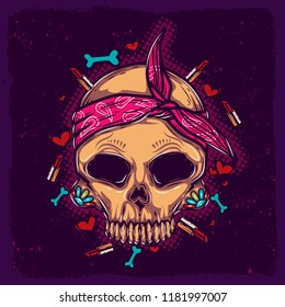 Original vector illustration, skull in pink bandana, with a pattern on the face.