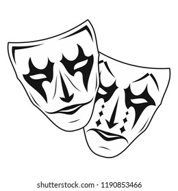 Original vector illustration of Theatre Masks. Comedy and tragedy, in a vintage style. Kind and evil joker. Cheerful and sad actor.