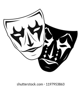 Original vector illustration of Theatre Masks. Comedy and tragedy, in a vintage style. Kind and evil joker. Cheerful and sad actor. The drawing for design. Black tattoo. Vector illustration.