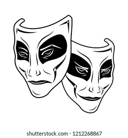Original vector illustration of Theatre Masks on a white background. Comedy and tragedy, in a vintage style. Kind and evil joker. Cheerful and sad actor. The drawing for design. Black tattoo. Vector.