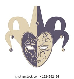 Original vector illustration of theatrical masks on a white background. Comedy and tragedy. Vintage style. Kind and evil joker. Cheerful and sad actor. The drawing for design. Black tattoo. Vector.