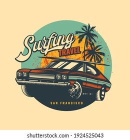 Original vector illustration in vintage style. Vintage car with surfing on the roof, against the background of palm trees and the sun.