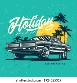 Original vector illustration in vintage style. Vintage car on the background of palm trees and the sun.