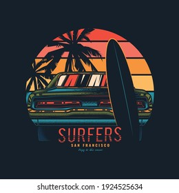 Original vector illustration in vintage style. Vintage car with a surfboard by the sea.