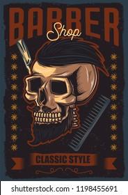 Original vector poster. Skull funky hair, mustache and beard. Advertising barbershop