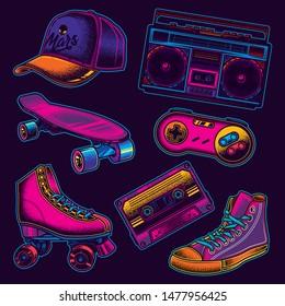 Original vector set of neon vintage retro illustrations of 80's.