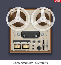 Original Vintage Analog Reel Tape Recorder. Retro technologies. Vector Illustration on dark background
