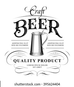 Original vintage badge logo design template for beer house, bar, pub, brewing company, brewery, tavern, taproom, alehouse, beerhouse, restaurant with custom lettering