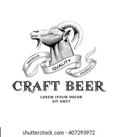Original vintage badge logo design template for beer house, bar, pub, brewing company, brewery, tavern, taproom, alehouse, beerhouse, restaurant with custom lettering and wild goat head
