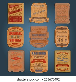 Original vintage blue raw jeans genuine leather exclusive brands classic decorative labels collection abstract isolated vector illustration