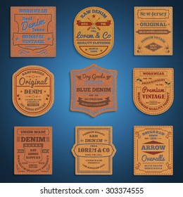 Original vintage blue raw jeans genuine leather exclusive brands classic favorite  labels collection abstract isolated vector illustration