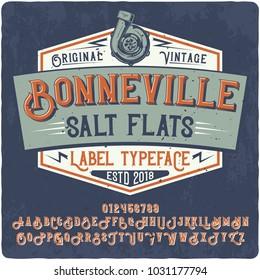 """Original vintage label typeface named """"Bonneville"""". Good handcrafted font for any vintage label design."""