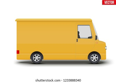 Original vintage postal yellow van. Cargo and delivery retro minibus transportation. Editable Vector illustration Isolated on white background.