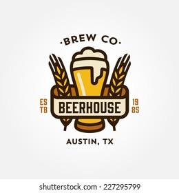 Original vintage retro line art badge logo design template for beer house, bar, pub, brewing company, brewery, tavern, taproom, alehouse, beerhouse, dramshop, restaurant