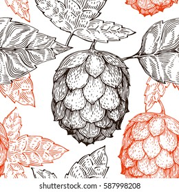 Original vintage retro line art seamless vector pattern for beer house, bar, pub, brewing company, brewery, tavern, taproom, alehouse, beerhouse