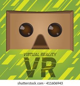 Original virtual reality cardboard headset device. Realistic VR headsets.