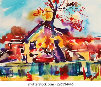 original watercolor abstract rural landscape, impressionistic painting, vector illustration
