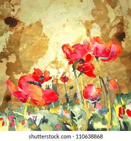 original watercolor poppy flower in gold background