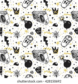 Original youth seamless patterns, repeating image for using pattern on any items, T-shirts, wallpaper, curtains.