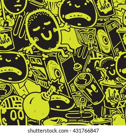 Original youth seamless patterns, repeating image for using pattern on any items, T-shirts, wallpaper, curtains. Green and black colors