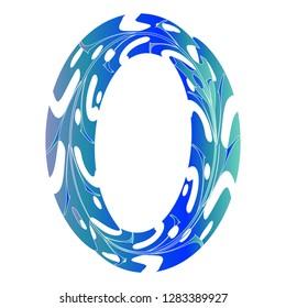 Original Zero Symbol Design. Tropical Leaf Style Letter O Vector Illustration. Stylish Idea for Logo, Emblem etc. Null Number Textured Design in Ice Blue Color. Original Oval Border
