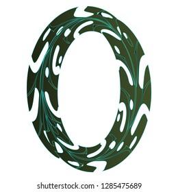 Original Zero Symbol Design. Tropical Leaf Style Letter O Vector Illustration. Stylish Idea for Logo, Emblem etc. Null Number Textured Design in Green Gradient Color. Oval Border Template