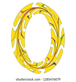 Original Zero Symbol Design. Tropical Leaf Style Letter O Vector Illustration. Stylish Idea for Logo, Emblem etc. Null Number Textured Design in Yellow. Oval Border Template